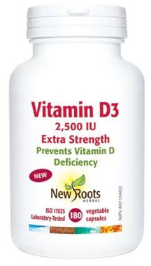 New Roots Vitamin D3 2,500 IU Extra Strength, 180 Caps | NutriFarm.ca