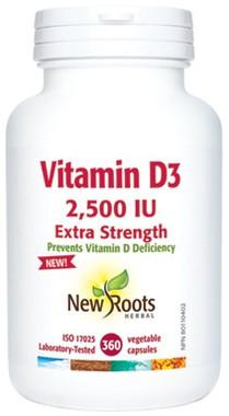 New Roots Vitamin D3 2,500 IU Extra Strength, 360 Caps   NutriFarm.ca