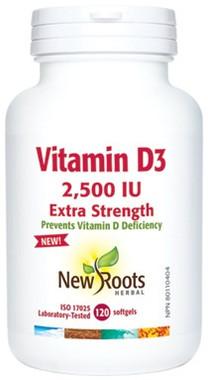 New Roots Vitamin D3 2,500 IU Extra Strength, 120 Softgels | NutriFarm.ca