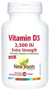 New Roots Vitamin D3 2,500 IU Extra Strength, 180 Softgels | NutriFarm.ca