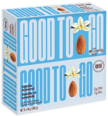 Good To Go Almond Vanilla Keto Bars, 1 box (9 bars x 40 g)   NutriFarm.ca