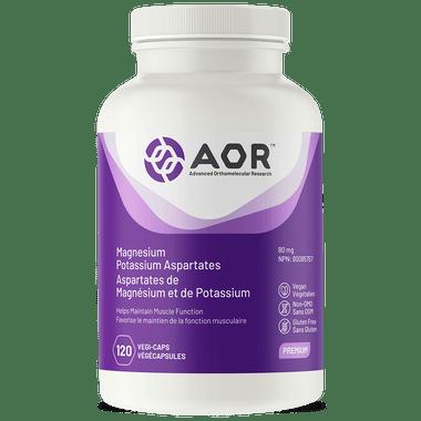 AOR Magnesium and Potassium Aspartates, 120 Vegetable Capsules | NutriFarm.ca