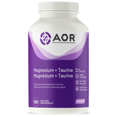 AOR Magnesium and Taurine, 180 Vegetable Capsules | NutriFarm.ca