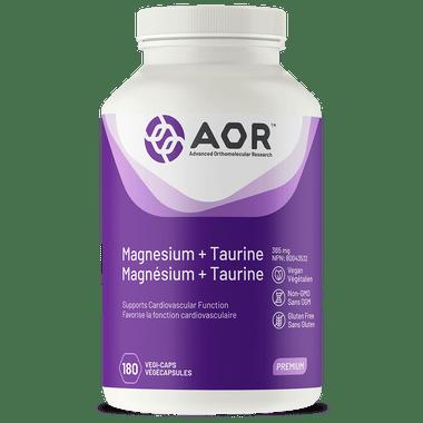AOR Magnesium and Taurine, 180 Vegetable Capsules | NutriFarm.ca
