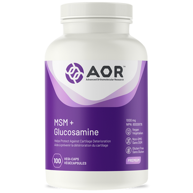 AOR MSM Glucosamine, 100 Vegetable Capsules | NutriFarm.ca