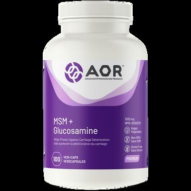 AOR MSM Glucosamine, 100 Vegetable Capsules   NutriFarm.ca