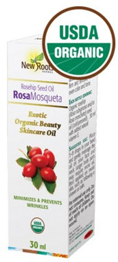 New Roots Rosa Mosqueta Seed Oil (Rosehip, Certified Organic), 30 ml | NutriFarm.ca
