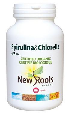 New Roots Spirulina & Chlorella (Certified Organic) 475 mg, 60 Capsule | NutriFarm.ca
