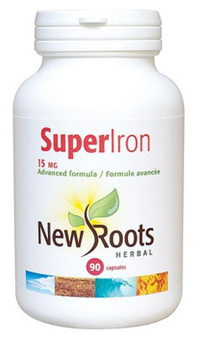New Roots Super Iron 15 mg, 90 Capsules | NutriFarm.ca