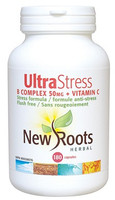 New Roots Ultra Stress B Complex 50 mg + Vitamin C, 180 Capsules | NutriFarm.ca