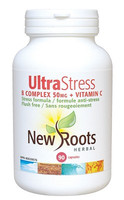 New Roots Ultra Stress B Complex 50 mg + Vitamin C, 90 Capsules | NutriFarm.ca
