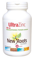 New Roots Ultra Zinc 30 mg, 90 Capsules | NutriFarm.ca
