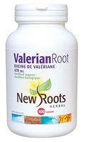 New Roots Valerian Root (Certified Organic) 470 mg, 100 Capsules | NutriFarm.ca