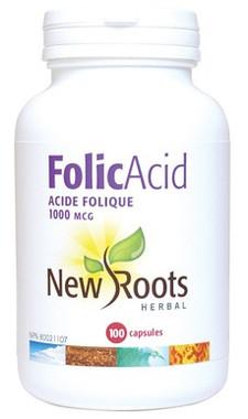 New Roots Folic Acid 1000 mcg, 100 Capsules | NutriFarm.ca