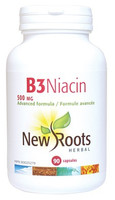 New Roots Vitamin B3 Niacin 500 mg, 90 Capsules | NutriFarm.ca