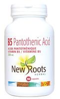 New Roots Vitamin B5 Pantothenic Acid 250 mg, 90 Capsules | NutriFarm.ca
