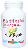 New Roots Vitamin B5 Pantothenic Acid 500 mg, 100 Capsules | NutriFarm.ca