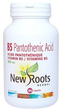 New Roots Vitamin B5 Pantothenic Acid 500 mg, 100 Capsules | NutriFarm.ca
