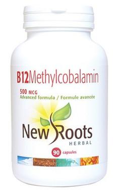 New Roots Vitamin B12 Methylcobalamin 500 mcg, 90 Capsules | NutriFarm.ca