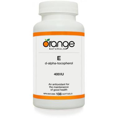 Orange Naturals E 400IU, 108 Softgels | NutriFarm.ca