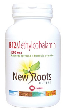 New Roots Vitamin B12 Methylcobalamin 1000 mcg, 90 Capsules | NutriFarm.ca
