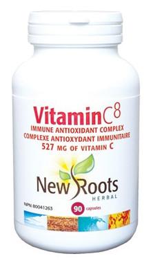 New Roots Vitamin C8 527 mg, 90 Capsules | NutriFarm.ca