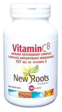 New Roots Vitamin C8 527 mg, 180 Capsules | NutriFarm.ca