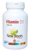 New Roots Vitamin D3, 180 Capsules   NutriFarm.ca