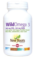 New Roots Wild Omega 3 (180 mg EPA 120 mg DHA), 180 Softgels | NutriFarm.ca