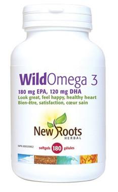 New Roots Wild Omega 3 (180 mg EPA 120 mg DHA), 180 Softgels | NutriFarm.ca