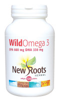 New Roots Wild Omega 3 (EPA 660 mg DHA 330 mg), 120 Softgels | NutriFarm.ca