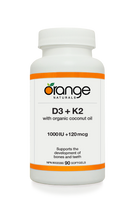 Orange Naturals D3 and K2, 90 Softgels | NutriFarm.ca