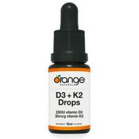 Orange Naturals D3 + K2 Drops 250IU/30mcg Orange MCT, 15 ml | NutriFarm.ca