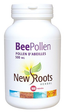 New Roots Bee Pollen 500 mg, 100 Capsules | NutriFarm.ca
