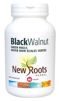 New Roots Black Walnut Green Hulls 150 mg, 60 Capsules | NutriFarm.ca