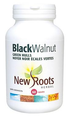 New Roots Black Walnut Green Hulls 150 mg, 60 Capsules   NutriFarm.ca
