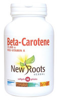 New Roots Beta-Carotene 25,000 IU, 90 Softgels | NutriFarm.ca