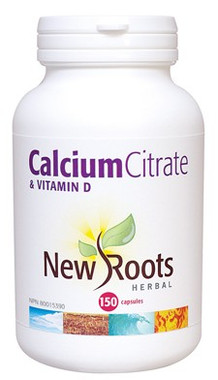 New Roots Calcium Citrate & Vitamin D, 150 Capsules | NutriFarm.ca