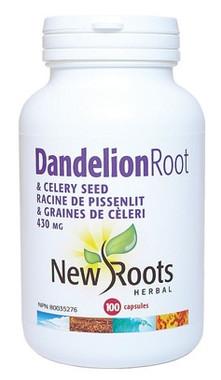 New Roots Dandelion Root & Celery Seed 430 mg, 100 Capsules | NutriFarm.ca