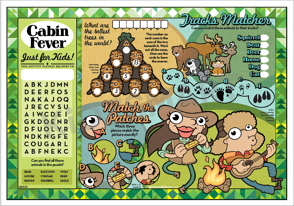 Cabin Fever 1 Custom Placemats 2 000 Per Case The Placemat Store