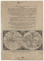 Map of the world showing Drake's voyage. Frontispiece from America, part VIII, c.1599