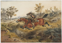 Hard-pressed or flight of a bushranger, 1874