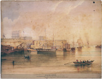 Shipping horses for the government of India at Millers Point wharf, c.1847