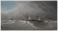 Shamrock speaking the packet ship St George off Cape Dromedary, c.1850