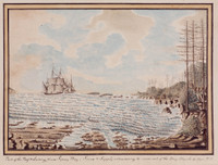 Sydney Bay, Sirius & Supply endeavouring to work out of the Bay, 19 March 1790