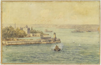 Old Milsons Point Wharf from Blues Point, 1870