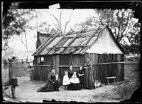 Bark hut with women and children, Gulgong 1872