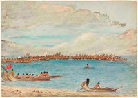 King of Otaheito reviewing his war canoes, 1802