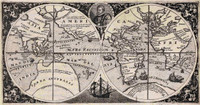 Map of the world showing Drakes voyage 1599