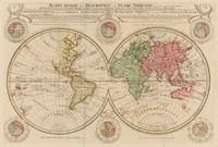 Mappe monde ou Description du Globe terrestre vu en concave ou en creux en deux Hemispheres, 1740